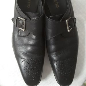 Broletto Men's Leather Monk Buckle Shoes Black
